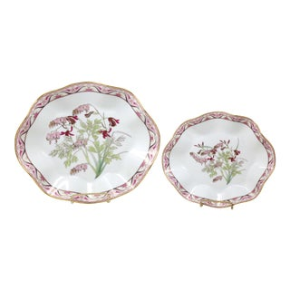 "Vintage ""Bleeding Hearts"" Ruffled Plates - Set of 2 For Sale"