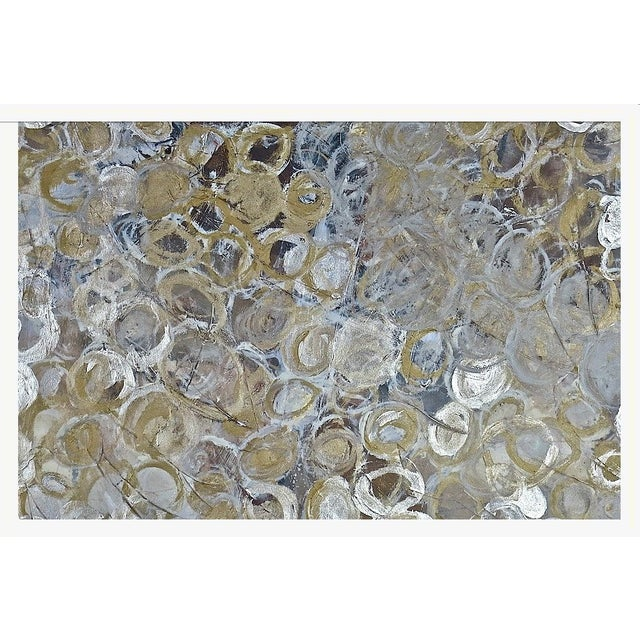 Gold & Silver Circles Painting - Image 1 of 2
