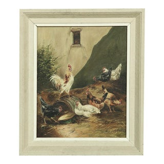 Antique Realist Framed Oil Painting on Canvas For Sale