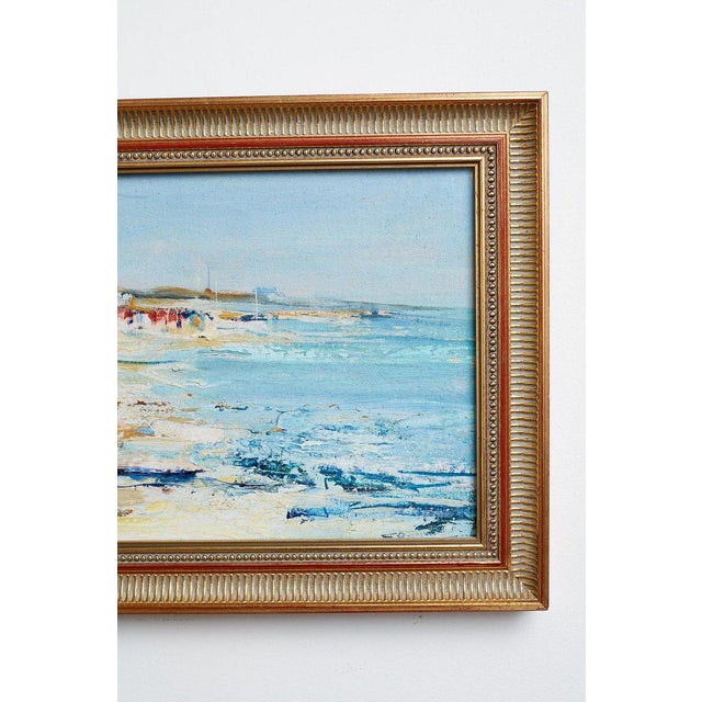 Mid Century T. Scola Coastal Painting Oil on Board For Sale - Image 9 of 13