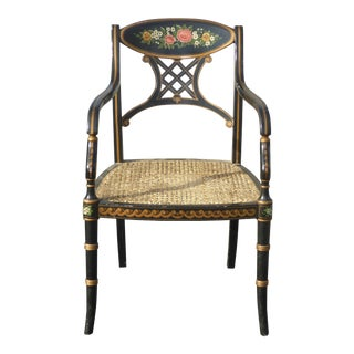 Vintage Chelsea House Port Royal Black Lacquer Chair W Cane Hitchcock Style For Sale