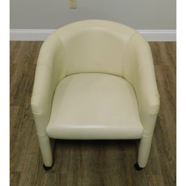 White Vintage Set 12 Postmodern Off White Leather Barrel Back Chairs For Sale - Image 8 of 13
