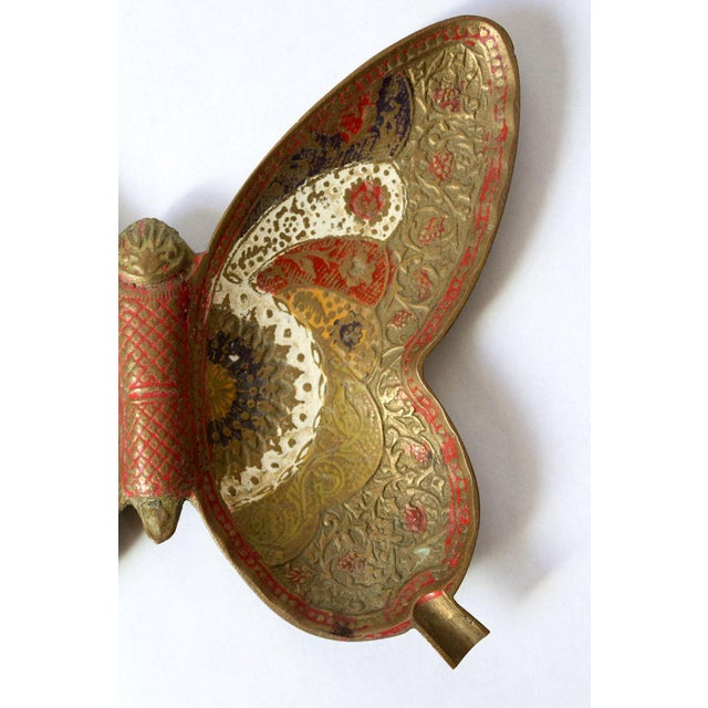 Painted Brass Butterfly Trinket Dish For Sale - Image 4 of 5