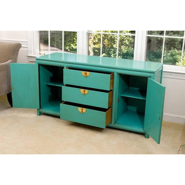 Asian Fabulous Vintage Buffet by Thomasville in Turquoise Lacquer For Sale - Image 3 of 11