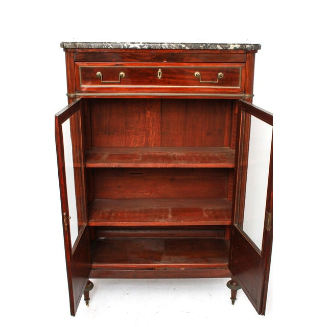 Federal Late 19th Century Federal Style Mahogany Cabinet with Italian Marble Top For Sale - Image 3 of 11