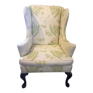 1980s Vintage Hickory Chair Furniture Upholstered Wingback For Sale