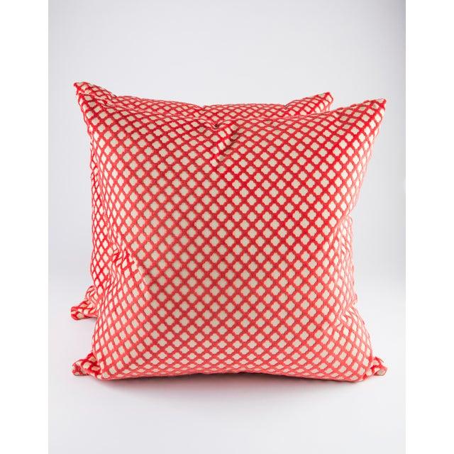 """White 22"""" X 22"""" Velvet Scalamandre Pomfret Down Pillows For Sale - Image 8 of 8"""