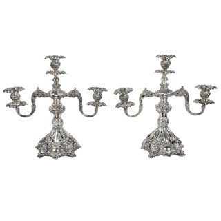 "Late 19th Century Silver Plate Reed and Barton Candelabras ""Renaissance"" Pattern For Sale"