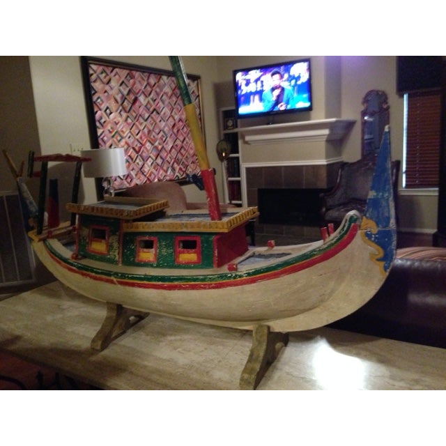 Decorative Vintage Children's Wood Boat with Stand - Image 2 of 11