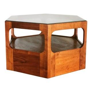 Mid Century Hexagonal Walnut Coffee Table For Sale
