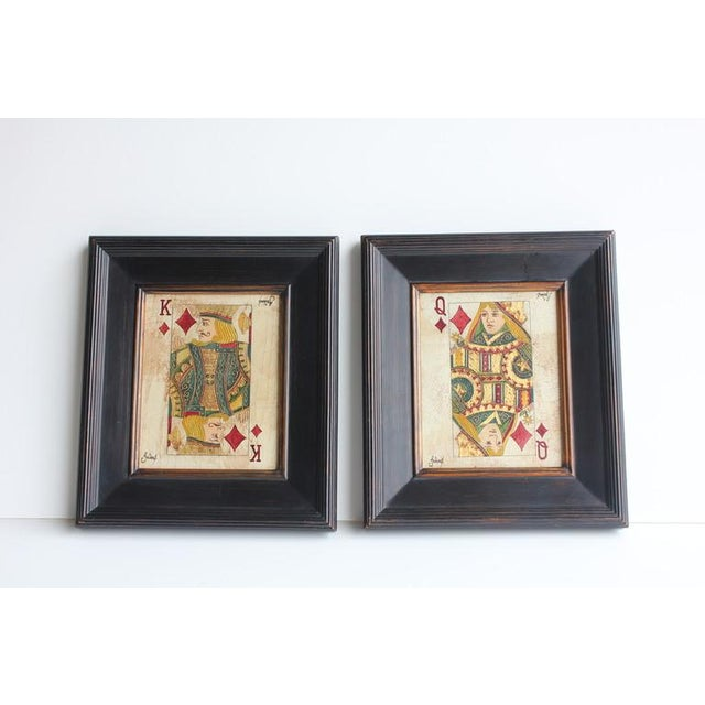 Folk Art Queen & King Game Cards Oil Paintings by Julius - Image 2 of 4