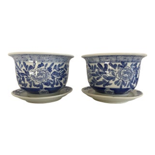 Chinoiserie Blue & White Cachepots With Trays - a Pair For Sale