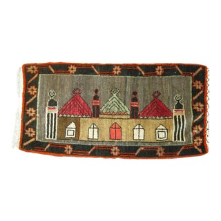 Vintage Turkish Landscape Pictorial Castle House Rug, 1'8'' x 3'3''