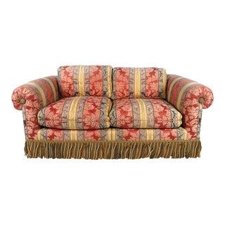 Scalamandre Damask Stripe Fully Upholstered Down Filled Loveseat Sofa For Sale