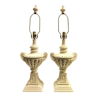 Vintage Cut Out Urn Style Lamps - a Pair For Sale