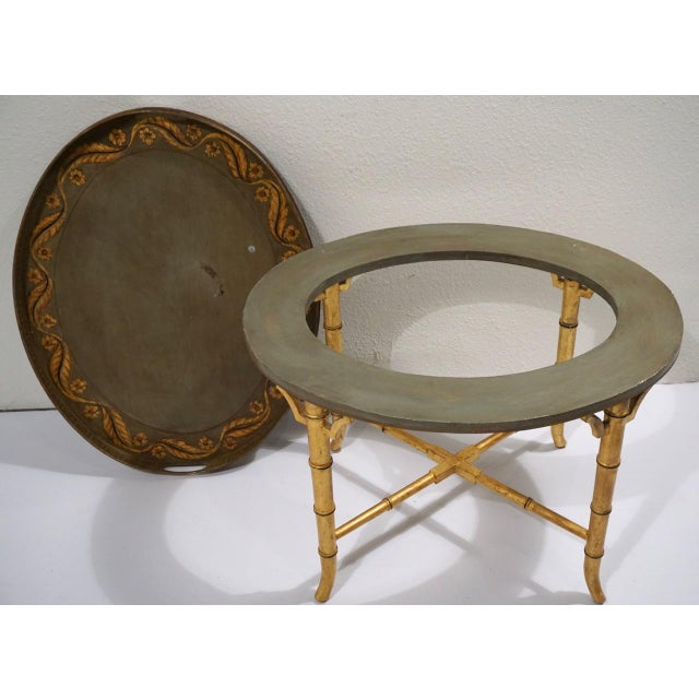 1940s Vintage Italian Tole Table on Gold Bamboo Stand For Sale - Image 5 of 11