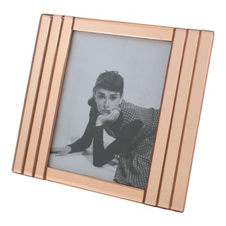 French 1940s Copper Pink Mirror Large Picture Photo Frame For Sale