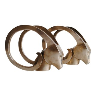 Mid-Century Brass Ram Bookends For Sale