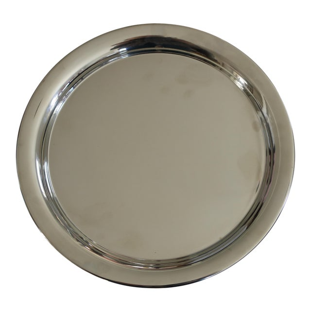 1970s Vintage Cartier Polished Pewter Tray in Original Red Presentation Box For Sale