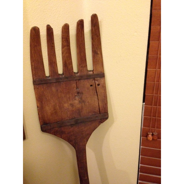 Antique Tall Wooden Fork Banded With Metal - Image 5 of 6