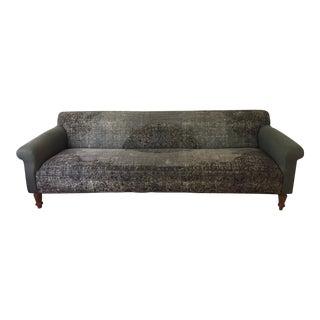 Modern Anthropologie Teal Sofa For Sale
