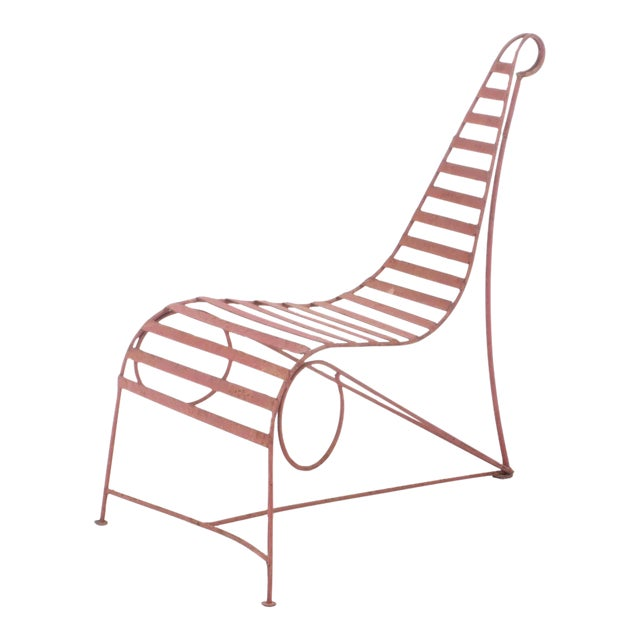 Andre Dubreuil Style Sculptural Garden Chaise For Sale
