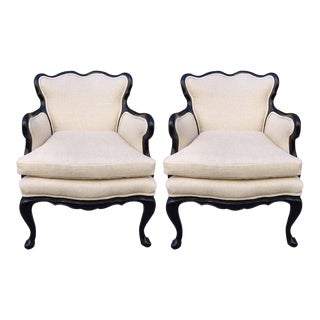 Pair of French Antique Style Lounge Chairs in Linen For Sale