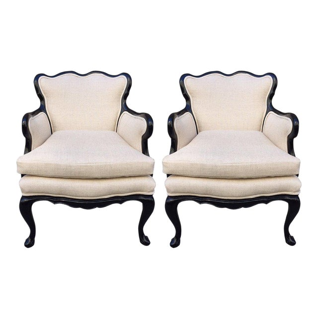 Pair of French Antique Style Lounge Chairs in Linen - Image 1 of 7 - Exquisite Pair Of French Antique Style Lounge Chairs In Linen DECASO