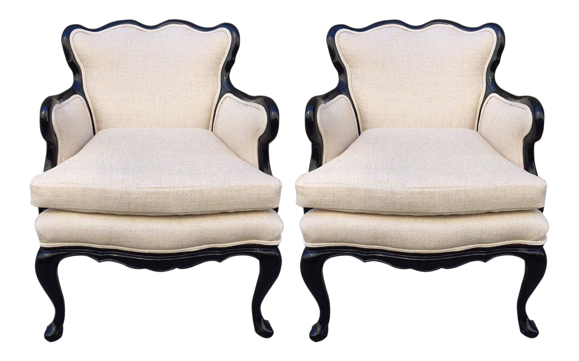 Pair Of French Antique Style Lounge Chairs In Linen   Image 1 Of 7