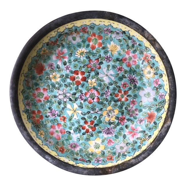 1970s Chinoiserie Floral Plate With Pewter Base For Sale