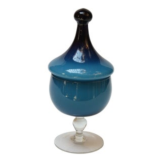 Vintage Empoli Blue Blown Glass Lidded-Apothecary / Candy Dish For Sale