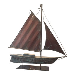 Early 20th Century Vintage Sailboat Weathervane Mounted on Steel Stand For Sale