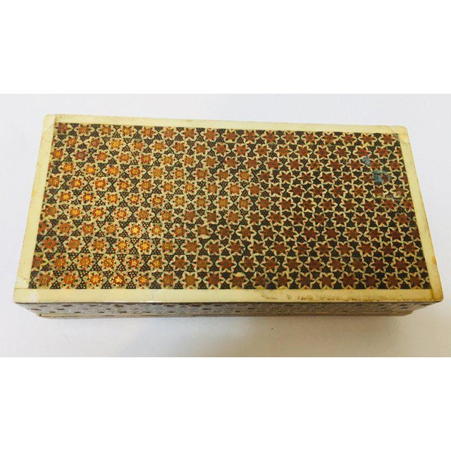 Wood Micro Mosaic Indo Persian Inlaid Jewelry Trinket Box For Sale - Image 7 of 11