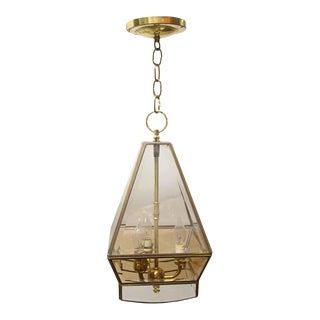 Traditional Brass Beveled Glass Octagon Ceiling Lantern For Sale
