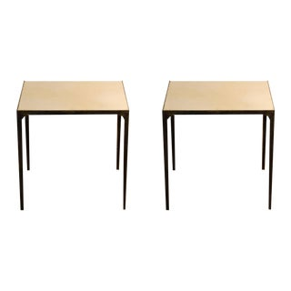 Contemporary Design Frères 'Esquisse' Parchment and Wrought Iron Side Tables - a Pair For Sale