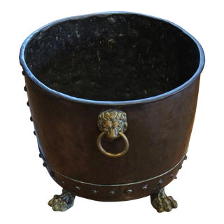 Mid 19th Century Antique Copper Jardinere With Lion Mask Ring Handles For Sale