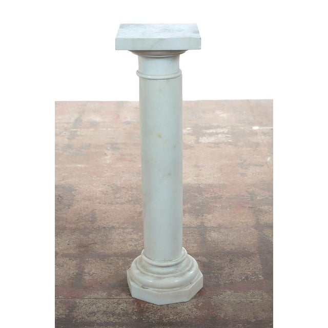 19th C. Italian Carrara Marble Carved Pillar Stand - Image 2 of 10