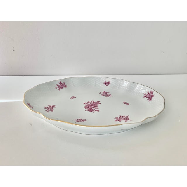Herend Vintage Herend Chinese Bouquet Raspberry Oval Plate For Sale - Image 4 of 4