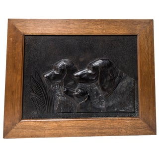 Black Painted Resin Panel of a Hunting Dogs Busts For Sale
