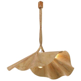 1 of 2 Rare Huge Ginkgo Leaf Brass Chandelier by Tommaso Barbi For Sale