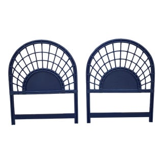 Palm Beach Navy Blue Faux Bamboo Twin Headboards - A Pair For Sale