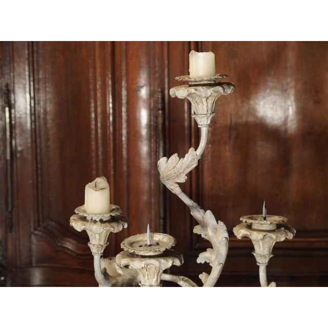 French Blue Gray Painted Rococo Style Table Candelabra For Sale - Image 4 of 10