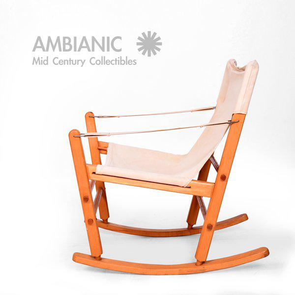Mid-Century Modern Safari Chair Rocker For Sale - Image 4 of 9