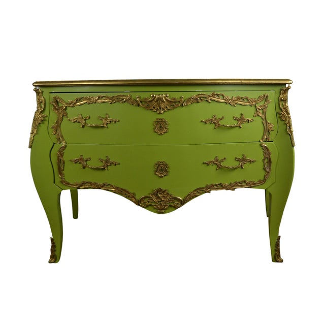 1980s 1980s Louis XV Style Green Commode For Sale - Image 5 of 5