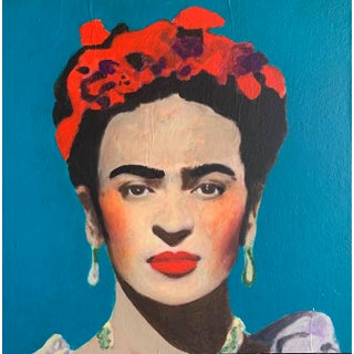 """""""Frida With Blue Background"""" Contemporary Portrait Acrylic Painting For Sale"""