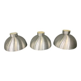 Three Spun Aluminum Mid-Century Style Round Hanging Lights For Sale