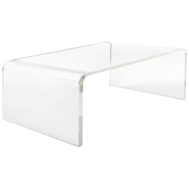 Transparent Custom Lucite Curved Sides Waterfall Table or Bench For Sale - Image 8 of 8