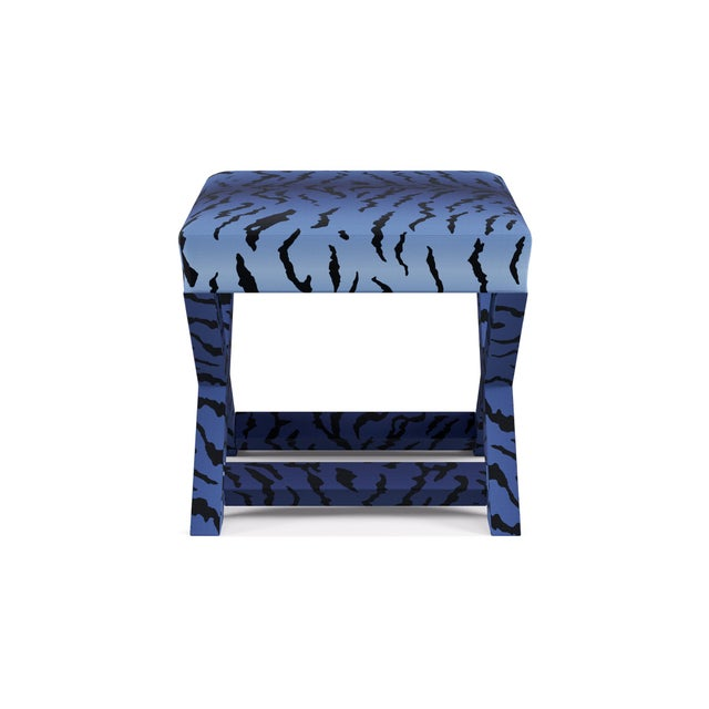 Contemporary X Bench In Royal Tiger By Old World Weavers For Sale - Image 3 of 7