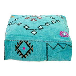 Turquoise Moroccan Wool Pouf