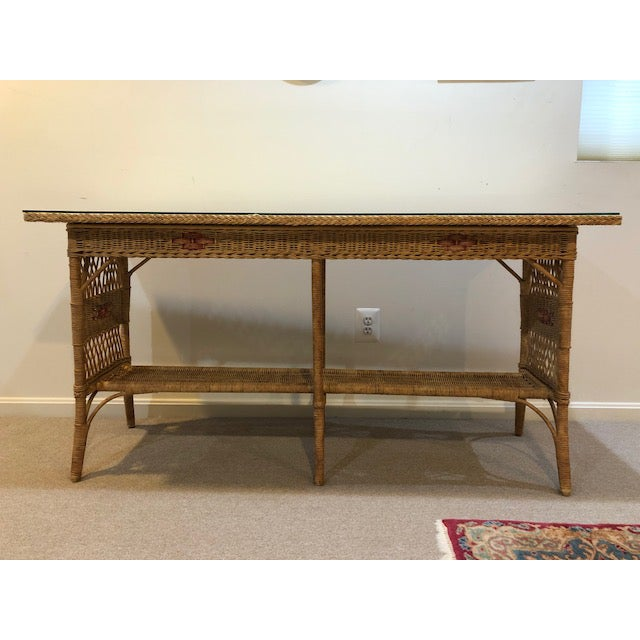 1950s Vintage Wicker Console Table For Sale - Image 9 of 9